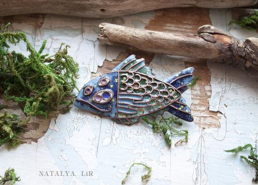 """Броши ручной работы. Ярмарка Мастеров - ручная работа. Купить Брошь """"Глубинная Рыба"""". Handmade. Горячая эмаль, рыбка"""