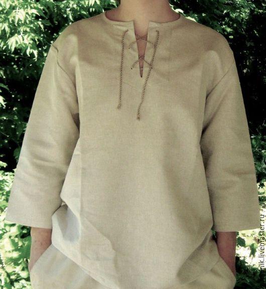 Для мужчин, ручной работы. Ярмарка Мастеров - ручная работа. Купить Льняная мужская рубашка.. Handmade. Рубашка льняная