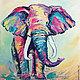 """Животные ручной работы. Ярмарка Мастеров - ручная работа. Купить """"Жил на Свете Розовый Слон"""" картина маслом. Handmade."""