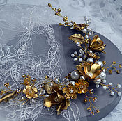Свадебный салон handmade. Livemaster - original item Golden twig. Wedding wreath. Handmade.