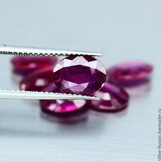 Для украшений ручной работы. Ярмарка Мастеров - ручная работа. Купить Рубин пурпурный натуральный, овал, 7х9 мм, 7 шт.. Handmade.
