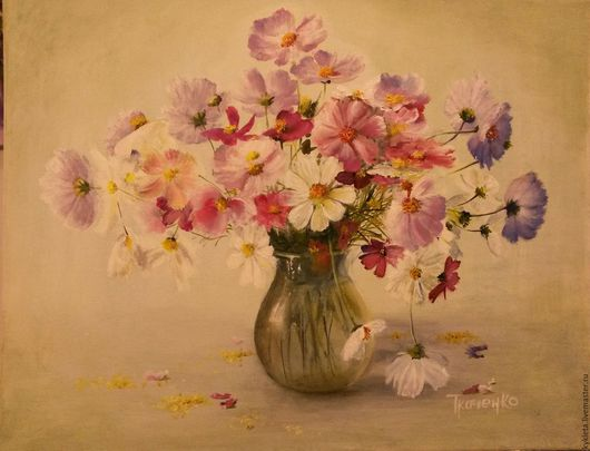 Картины цветов ручной работы. Ярмарка Мастеров - ручная работа. Купить Картина маслом на холсте Цветы моего детства. Handmade.
