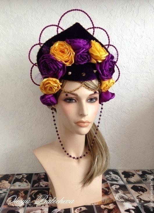 """Шляпы ручной работы. Ярмарка Мастеров - ручная работа. Купить Стилизованный кокошник """"Thorns and roses"""". Handmade. Шляпка, фиолетовый"""