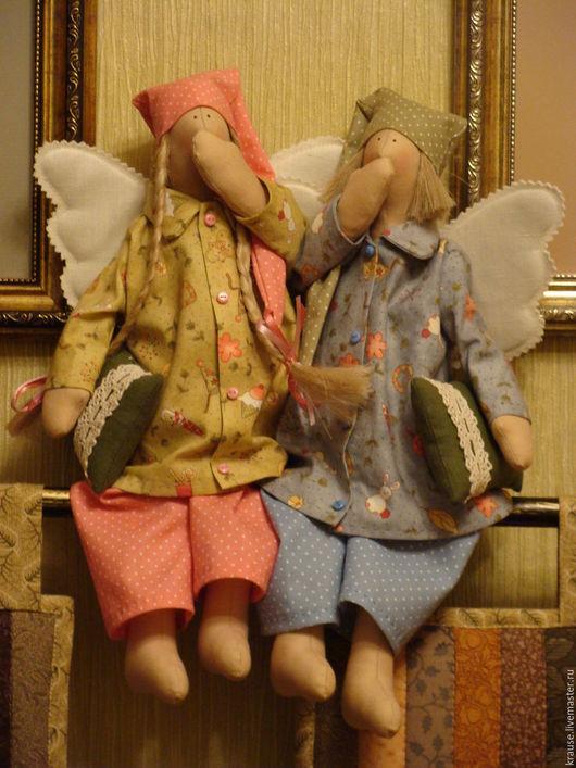 """Куклы Тильды ручной работы. Ярмарка Мастеров - ручная работа. Купить """"Вы как хотите, а мы- спать!"""". Handmade. Ангелы, оливковый"""