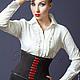 Корсеты ручной работы. Ярмарка Мастеров - ручная работа. Купить Корсет-пояс утягивающий  «Nina Ricci»  из черной костюмной ткани. Handmade.