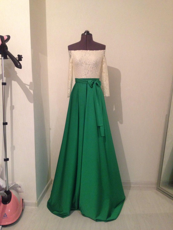 фото зеленое платье в пол