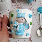 Посуда ручной работы. Ярмарка Мастеров - ручная работа Зайка в пижамке.... мальчик. Handmade.