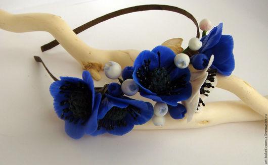 """Диадемы, обручи ручной работы. Ярмарка Мастеров - ручная работа. Купить Ободок для волос """"Синие анемоны"""". Handmade. Ободок для волос"""