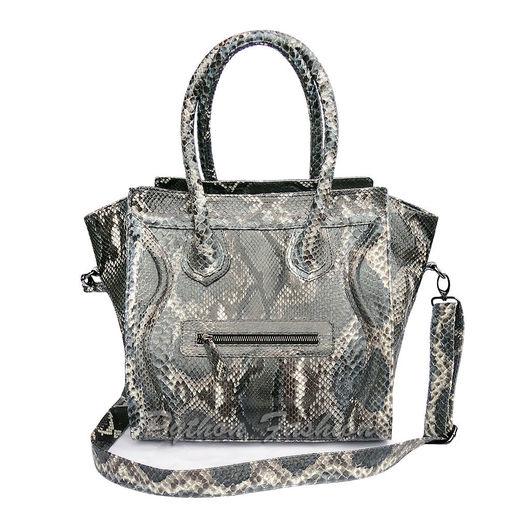 Сумка из питона на длинном ремешке.Элегантная дизайнерская сумка из кожи питона. Красивая женская питоновая сумка а-ля Celine. Модная сумка на плечо, авторская женская сумка ручной работы из питона.
