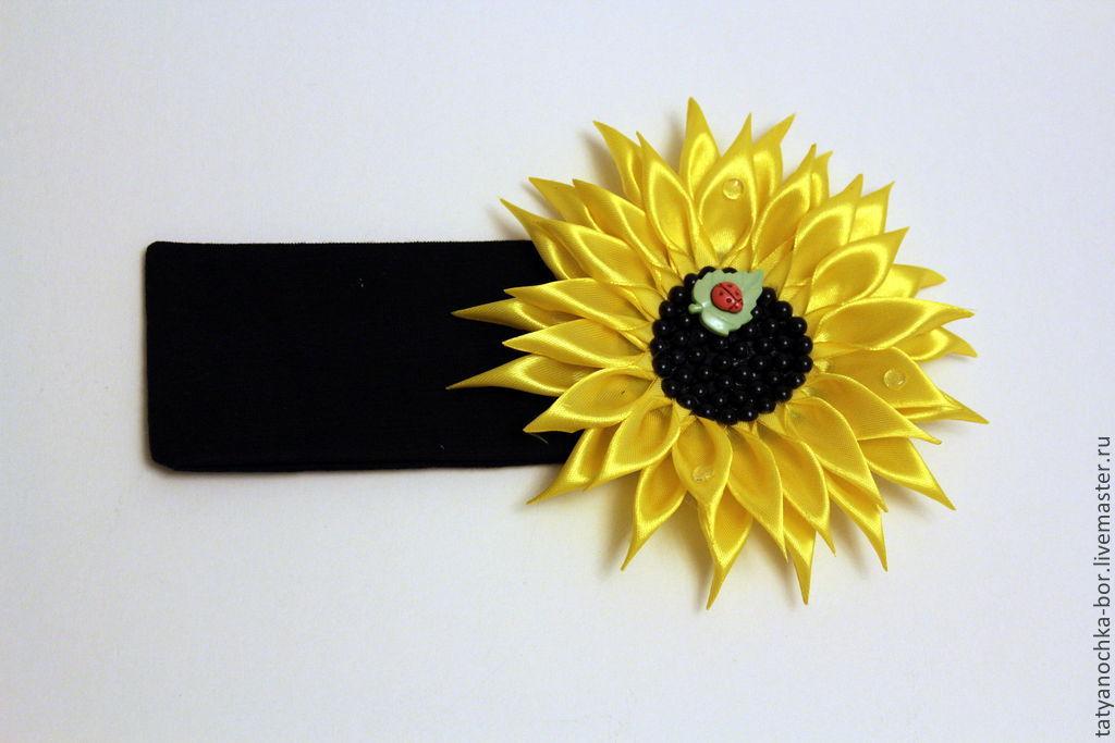Повязка на голову с цветком Подсолнуха сделано своими руками