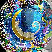 """Посуда ручной работы. Ярмарка Мастеров - ручная работа Витражная тарелка """"Лунный кот"""". Handmade."""
