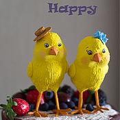 Свадебный салон ручной работы. Ярмарка Мастеров - ручная работа Фигурки на свадебный торт (цыплята). Handmade.