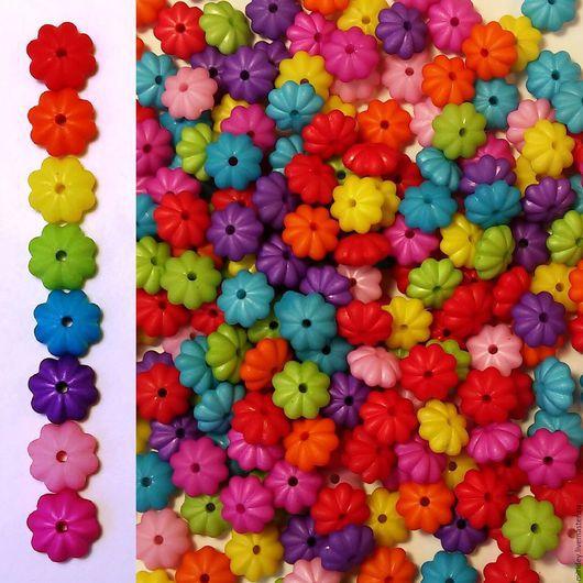 """Для украшений ручной работы. Ярмарка Мастеров - ручная работа. Купить Бусины пластиковые """"Цветок"""" 6 х12 мм. Handmade."""