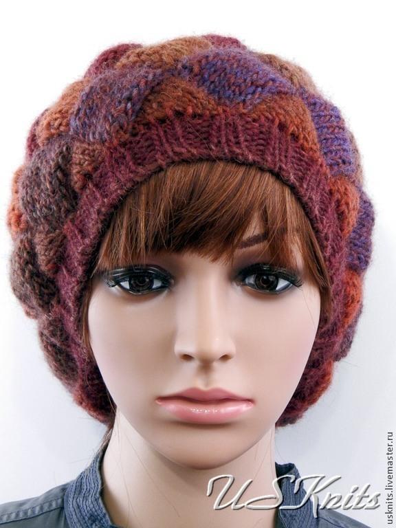 Вязаная шапка-берет в технике энтрелак – купить в интернет ...