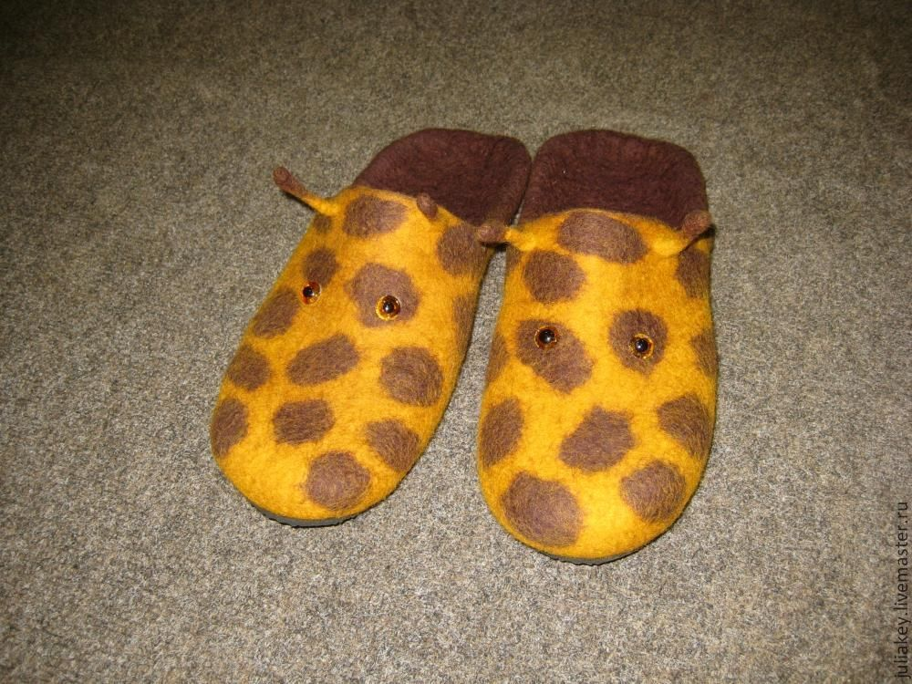 Slippers-felted flip flops Girafe, Slippers, Moscow,  Фото №1