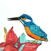 Украшения ручной работы. Ярмарка Мастеров - ручная работа Брошь птица - брошь зимородок. Handmade.