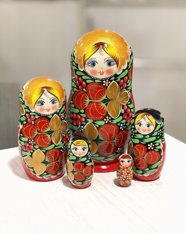 MATRYOSHKA 'KHOKHLOMA', 16 cm 5 places, Dolls1, Moscow,  Фото №1