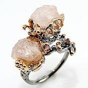 Украшения handmade. Livemaster - original item Silver ring with natural morganite and garnet. Handmade.