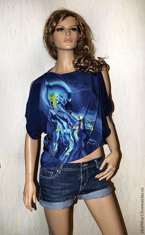 """Блузки ручной работы. Ярмарка Мастеров - ручная работа. Купить Блуза """" Медуза """". Handmade. Тёмно-синий"""