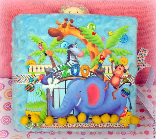 """Фотоальбомы ручной работы. Ярмарка Мастеров - ручная работа. Купить детский мини-альбом """"Зоопарк"""". Handmade. Разноцветный, плюшевый, вырубка"""