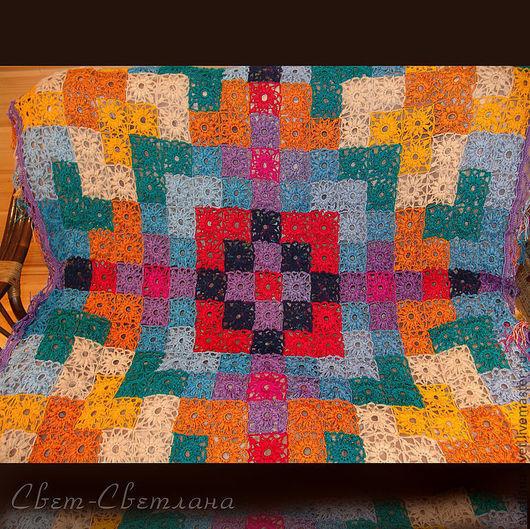 """Текстиль, ковры ручной работы. Ярмарка Мастеров - ручная работа. Купить """"Рождественкая звезда"""" Вязаное покрывало. Handmade. Вязаное крючком"""