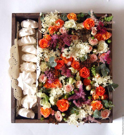 Цветы ручной работы. Ярмарка Мастеров - ручная работа. Купить Деревянная коробка с цветами и зефирками-2. Handmade. Комбинированный