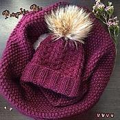 Аксессуары handmade. Livemaster - original item Set of hat and cowl