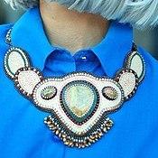 Украшения handmade. Livemaster - original item Beaded necklace White sand beige green brown. Handmade.