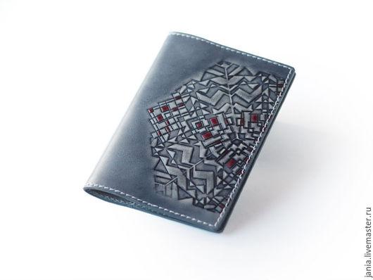Обложки ручной работы. Ярмарка Мастеров - ручная работа. Купить Обложка на паспорт из кожи Grey Indigo. Handmade. Обложка для паспорта