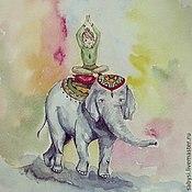 Картины и панно ручной работы. Ярмарка Мастеров - ручная работа Прогулка на слоне. Handmade.