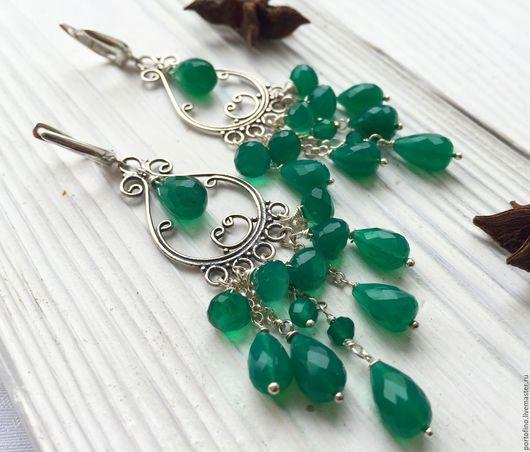 """Серьги ручной работы. Ярмарка Мастеров - ручная работа. Купить Серьги серебряные """"Изумрудные"""". Handmade. Зеленый, длинные сережки, серебро"""