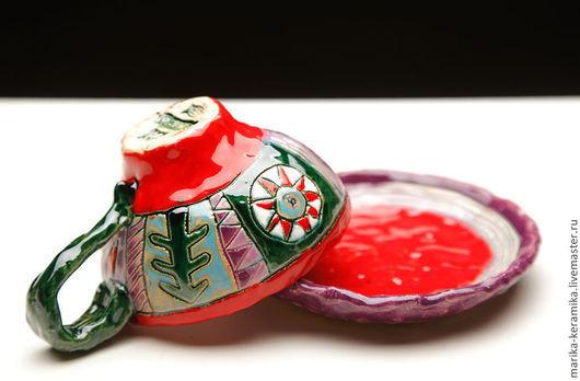 Кружки и чашки ручной работы. Ярмарка Мастеров - ручная работа. Купить Праздничная чайная пара. Handmade. Керамическая посуда, радость