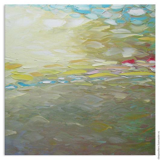 """Пейзаж ручной работы. Ярмарка Мастеров - ручная работа. Купить """"Fog Away"""" 90х90 см картина маслом мастихином пейзаж. Handmade."""