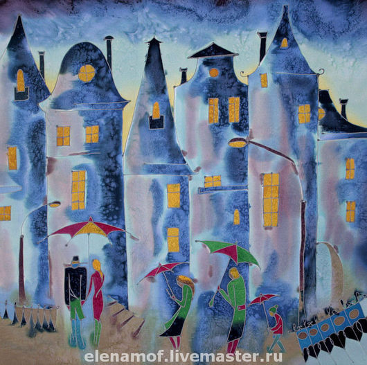 Город ручной работы. Ярмарка Мастеров - ручная работа. Купить Панно Дождь. Handmade. Батик, декоративное панно, ночьной город