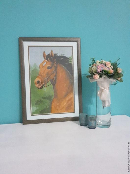 """Животные ручной работы. Ярмарка Мастеров - ручная работа. Купить Картина """"Лошадь"""". Handmade. Зеленый, вышивка крестиком, вышивка"""