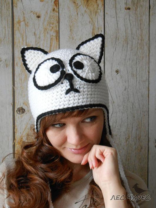 """Шапки ручной работы. Ярмарка Мастеров - ручная работа. Купить Шапка """"кот Саймона"""". Handmade. Белый, шапка для девушки"""