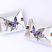 Для дома и интерьера handmade. Livemaster - original item Porcelain ashtray Butterfly. Handmade.