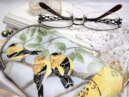Футляры, очечники ручной работы. Ярмарка Мастеров - ручная работа. Купить Футляр очечник женский Желтые птички Чехол для очков Подарок подруге. Handmade.