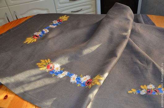 """Текстиль, ковры ручной работы. Ярмарка Мастеров - ручная работа. Купить Скатерть с вышивкой льняная """"Летний букет"""". Handmade. Серый"""
