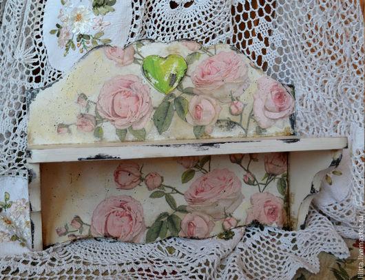 """Мебель ручной работы. Ярмарка Мастеров - ручная работа. Купить Полочка """"Шебби-шик"""". Handmade. Бледно-розовый, розовый"""