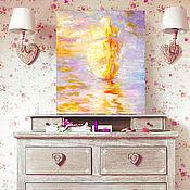 """Картины и панно ручной работы. Ярмарка Мастеров - ручная работа Картина """" Золотые паруса"""" масло, холст, оргалит 40х35 см. Handmade."""