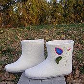 """Обувь ручной работы. Ярмарка Мастеров - ручная работа Тапочки-валенки для дома """"Цветочек"""". Handmade."""