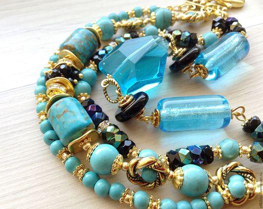 """Комплекты украшений ручной работы. Ярмарка Мастеров - ручная работа. Купить Комплект """"Blue Curacao"""". Handmade. Бирюзовый, многорядный браслет"""