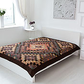 Для дома и интерьера handmade. Livemaster - original item Brown 165x215 cm Queen-size bedspread patchwork. Handmade.