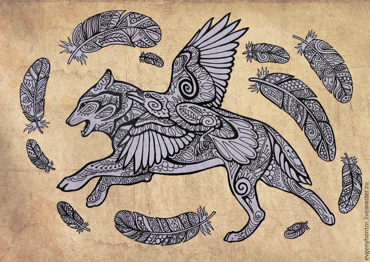 Волк и Ворон Раскраска-антистресс – купить на Ярмарке ...