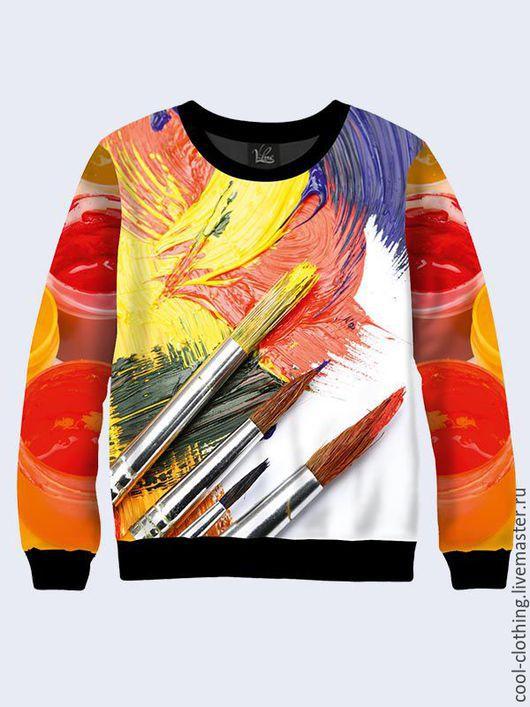 """Кофты и свитера ручной работы. Ярмарка Мастеров - ручная работа. Купить Свитшот для художника """"Краски"""". Handmade. Разноцветный, свитшот с рисунком"""