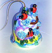 """Сувениры и подарки ручной работы. Ярмарка Мастеров - ручная работа Колокольчик """"Снегири"""". Handmade."""