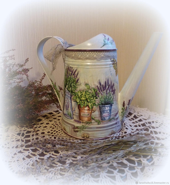 Лейка ваза металлическая для цветов для интерьера Когда цветет лаванда, Лейки, Санкт-Петербург,  Фото №1