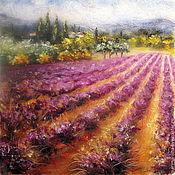 Картины и панно handmade. Livemaster - original item Picture of wool Lavender fields with cypresses. Handmade.