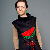 Одежда handmade. Livemaster - original item Warm black sweet dress. Handmade.